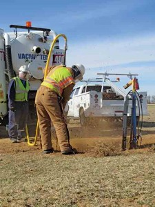 Corrpro technicians use vacuum excavation during AC mitigation, which is a growing problem with pipelines collocated on electric transmission rights of way.