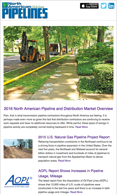 North American Oil & Gas Pipeline's weekly e-newsletter