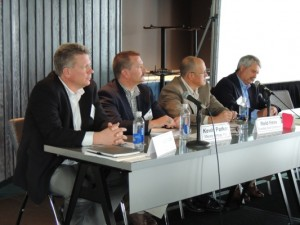 A panel discussion at the DCA/AGA Utility Contractor Workshop on First- and Second-Party Damage Prevention, moderated by Andrew Lu of the AGA, focused on how operators and contractors can work collectively to reduce incidents. Participants included (from left) Loren Brace of Michels Corp., Kevin Parker of Mears Group Inc./InfraSource, Reid Hess of Questar Gas and Gary Hebbeler of Duke Energy.