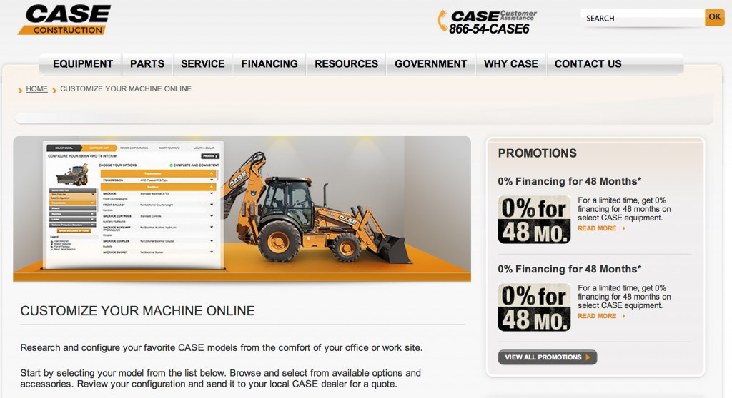 The Case Construction Equipment online equipment configurator allows potential customers to build the equipment they want from the comfort of their home or office.