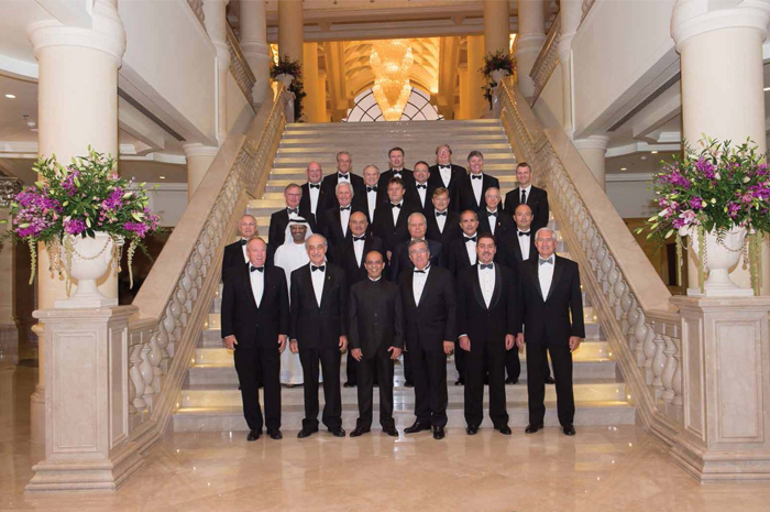 The 2014-2015 IPLOCA board of directors gather  at the annual convention in Abu Dhabi.