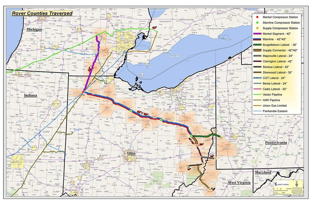 Rover Pipeline Map North American Oil Gas Pipelines - Oil-and-gas-pipeline-map-of-the-us