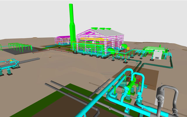 Using methods borrowed from Bond's Building division, Gas T&D Services has the ability to use laser scanning to create a virtual environment whereby the firm can accurately map-out a project before one mound of soil is turned. This image is a laser scan of a compressor station.