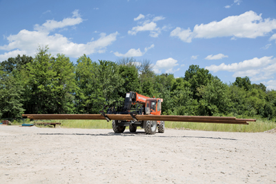 JLG, Manitou and Genie are three of the key players in the telehandler market. The equipment is typically used to haul pipe, but with the addition of certain attachments, the equipment can meet several different needs in the oil and gas midstream sector.