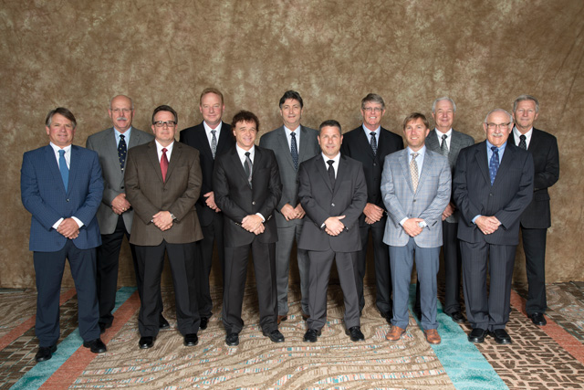 The 2016-2017 PLCAC Board of Directors are: (Back row, from left) David Douglas, Paul Schultz, Neil Lane, Michael Prior, David Kavanaugh and Nick de Koning (Front row, from left) David Johnstone, Bernie Lailey, Kevin Waschuk, Mark Scherer, Neil Waugh and Lyall Nash.