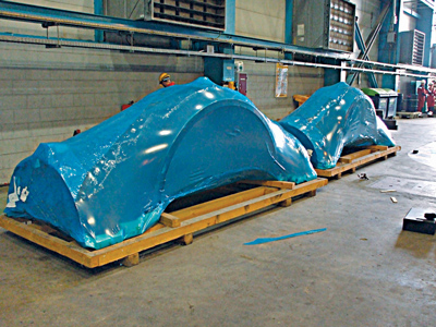 Large equipment like these gas turbine shells can be shrink-wrapped with VpCI film. When the equipment is needed, it is easily unwrapped and ready for immediate installation.