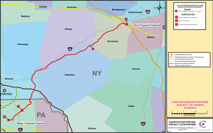 The proposed route of the Constitution Pipeline