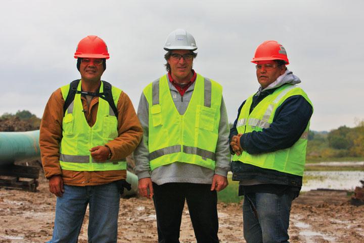 Tony Provost, tribal monitor, Omaha Tribe; Lou Thompson, CEO, Tribal Energy Resource; and David Williams, tribal monitor, Kickapoo Tribe