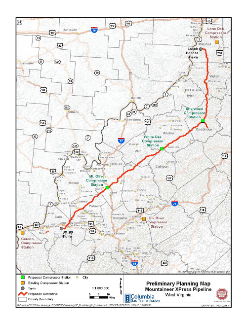 Transcanada Mountaineer Xpress Preliminary Planning Map Web North - Map-of-us-oil-pipelines