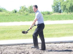 Vermeer president and CEO Jason Andringa at a groundbreaking ceremony