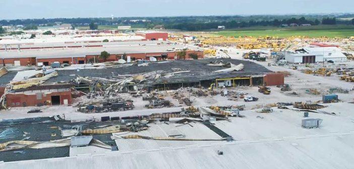 Vermeer's corporate headquarters in Pella, Iowa after the tornado
